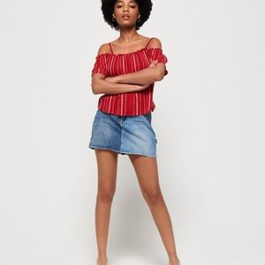 SUPER DRY RED OFF THE SHOULDER BUTTON UP TOP